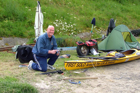 KC MacKay helping me repair my rudder during British Isles expedition, Scrabster, Scotland